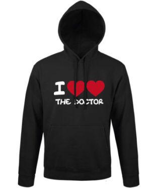 Mikina dámská černá I love the Doctor