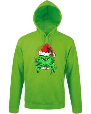 Mikina pánská zelená Grinchy Claus