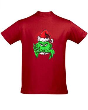 Tričko pánské červené Grinchy Claus